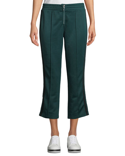 Striped Tricot Zip-Front Cropped Track Pants