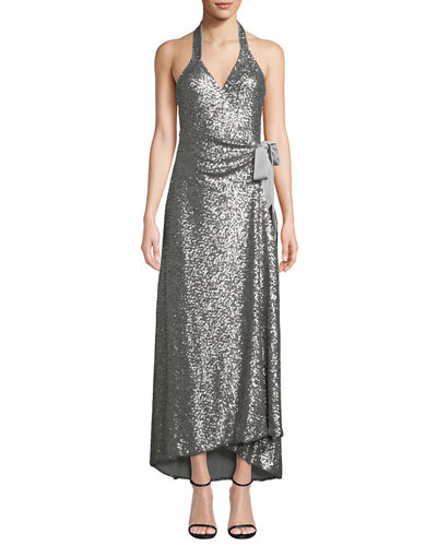 Dress The Population Tops GISELLE SEQUINED HIGH-LOW WRAP GOWN