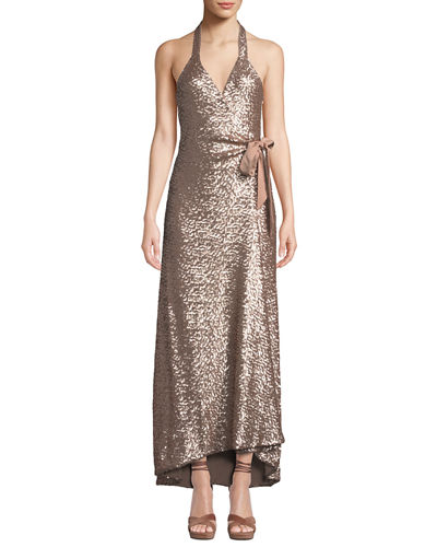 Dress The Population Giselle Sequined High-Low Wrap Gown