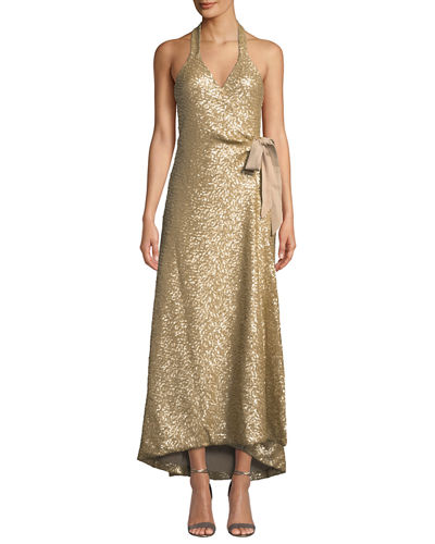 Giselle Sequined High-Low Wrap Gown