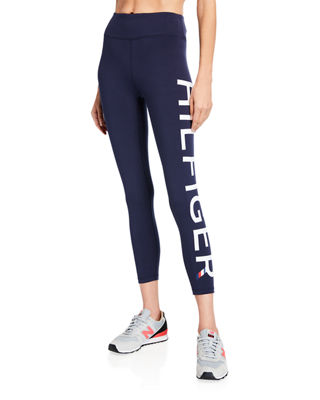 MODERN AMERICAN DESIGNER High-Rise Logo Jersey Leggings in Navy