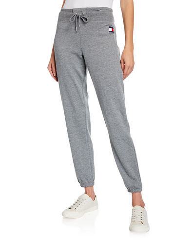 Modern American Designer High-Waist French Terry Logo Sweatpants