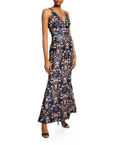 Karen Sequined-Lace Evening Gown