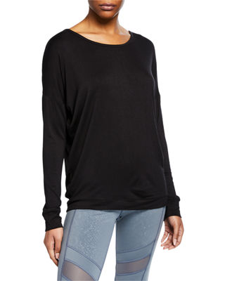 MARC NY PERFORMANCE Strappy-Back Long-Sleeve Tee in Black
