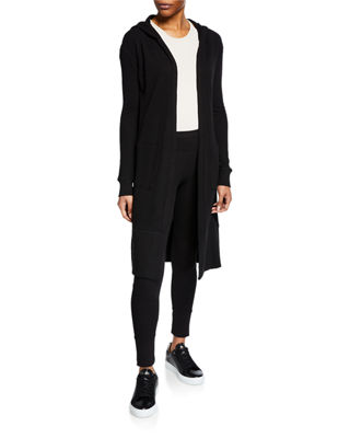 MARC NY PERFORMANCE Hooded Open-Front Cardigan in Black