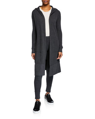 MARC NY PERFORMANCE Hooded Open-Front Cardigan in Charcoal