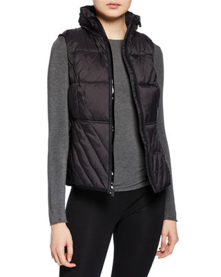 MARC NY PERFORMANCE Zip-Front Logo Band Packable Vest in Black