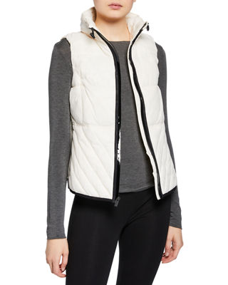MARC NY PERFORMANCE Zip-Front Logo Band Packable Vest in Ivory