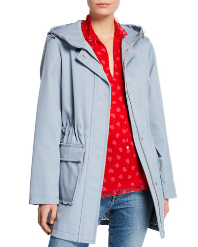 Snap-Front Hooded Trench Coat