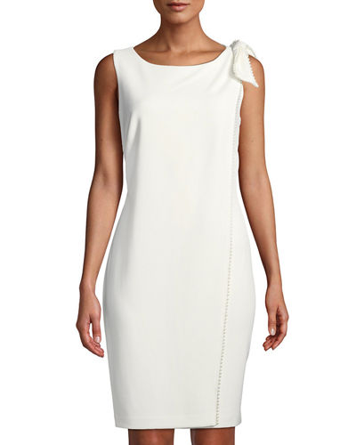 Sleeveless Sheath Dress with Pearl Detailing