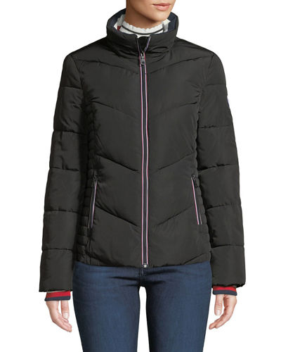 Stand-Collar Knit-Trim Puffer Jacket
