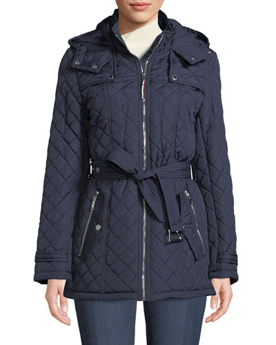 Quilted Coat with Attached Hood