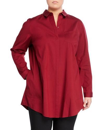 Leora Shirttail Blouse  Plus Size