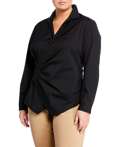Odetta Long-Sleeve Surplice-Neck Blouse  Plus Size