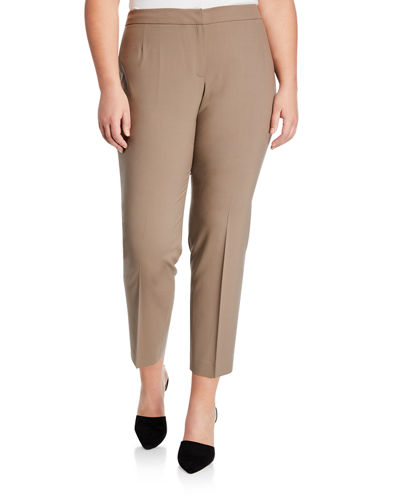 Wool Flat-Front Ankle Pants  Plus Size