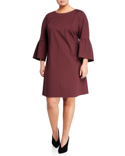 Marisa Bell-Sleeve A-line Dress  Plus Size