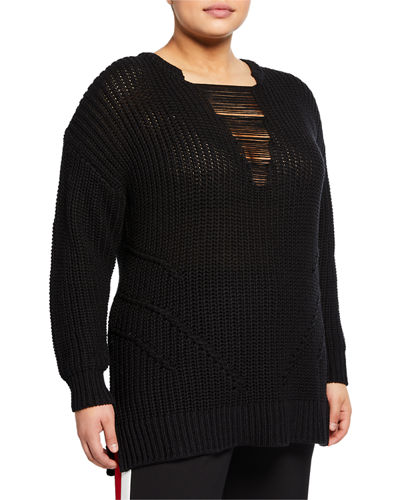 Rina Cable-Knit Sweater  Plus Size