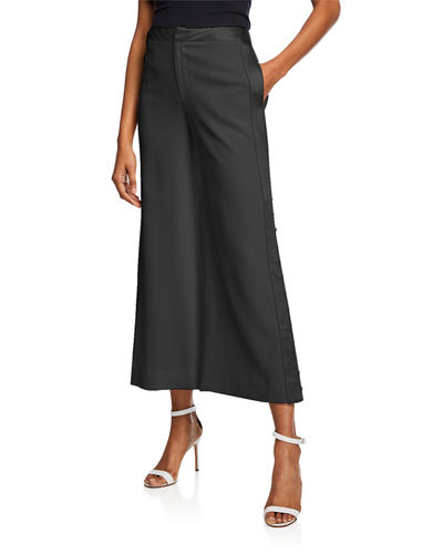 Wide-Leg Cropped Pants with Satin Trim