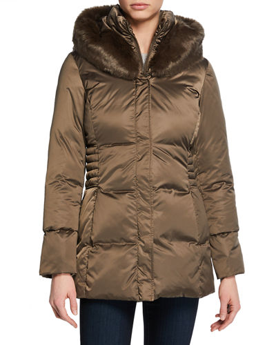 Britney Hooded Puffer Vest with Faux Fur
