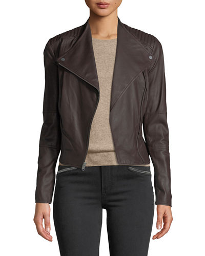 Pelham Asymmetrical Zip Leather Scuba Jacket
