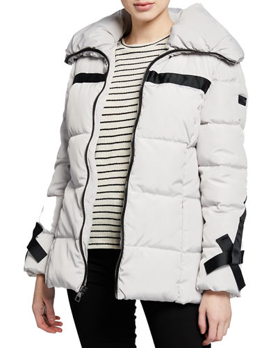 Hooded Down Fill Puffer Jacket with Exposed Zipper