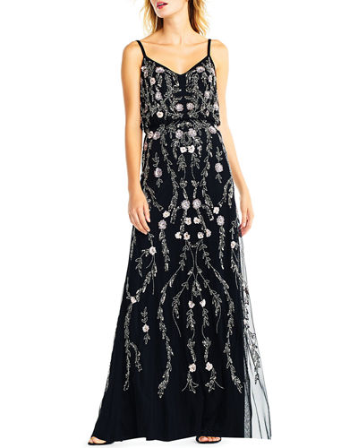 Floral Beaded Blouson A-Line Evening Gown