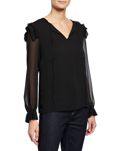 Long-Sleeve V-Neck Ruffle Blouse