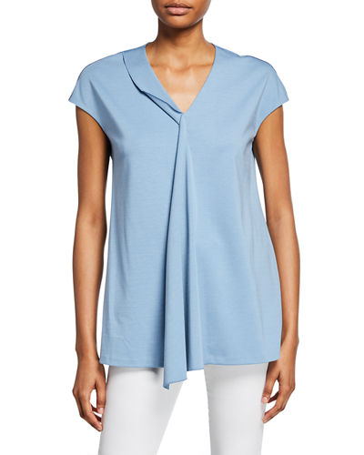 Front-Drape V-Neck Top