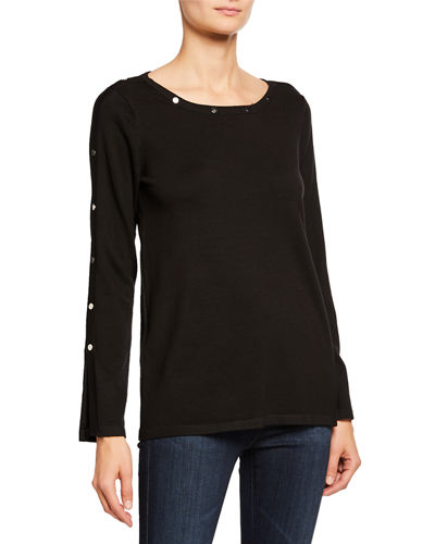 Long-Sleeve Stud Detail Top