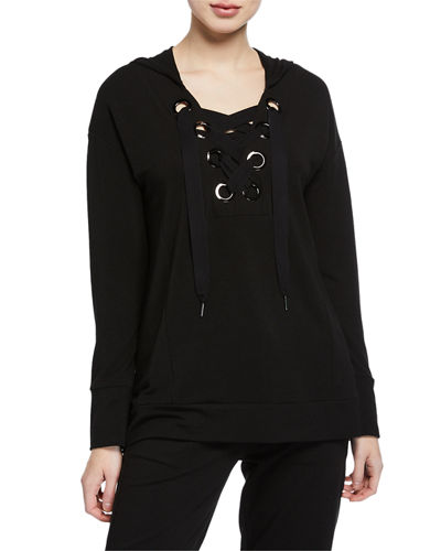 Neiman Marcus Hooded Long-Sleeve Baby-Terry Pullover w/ Lace-Up