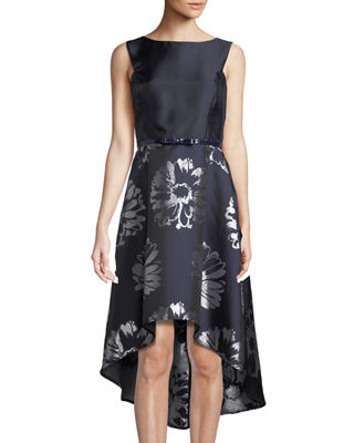 DONNA RICCO Floral-Taffeta High-Low Cocktail Dress in Blue/Silver
