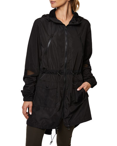 Mesh-Trim Parka Jacket