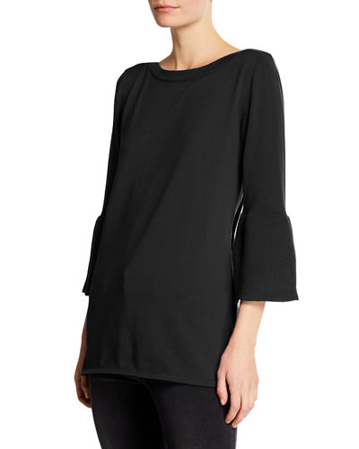 Bell-Sleeve Tunic Sweater Top