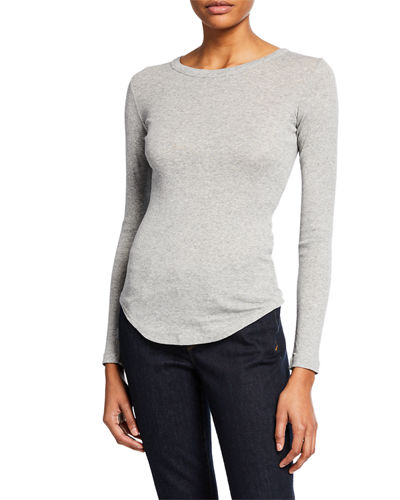 Vince Crewneck Long-Sleeve Fitted Tee