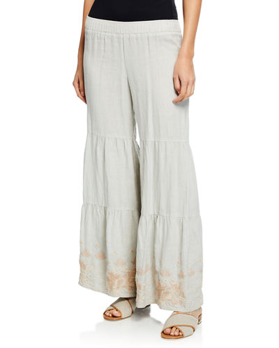Sienne Wide-Leg Tiered Linen Palazzo Pants w/ Embroidered Hem