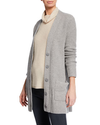 MAG BY MAGASCHONI Shaker-Stitch Cashmere Cardigan in Gray