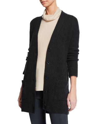 MAG BY MAGASCHONI Shaker-Stitch Cashmere Cardigan in Gray Pattern