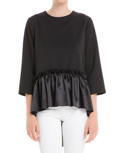 English Factory Ruffle-Hem High-Low Crewneck Top