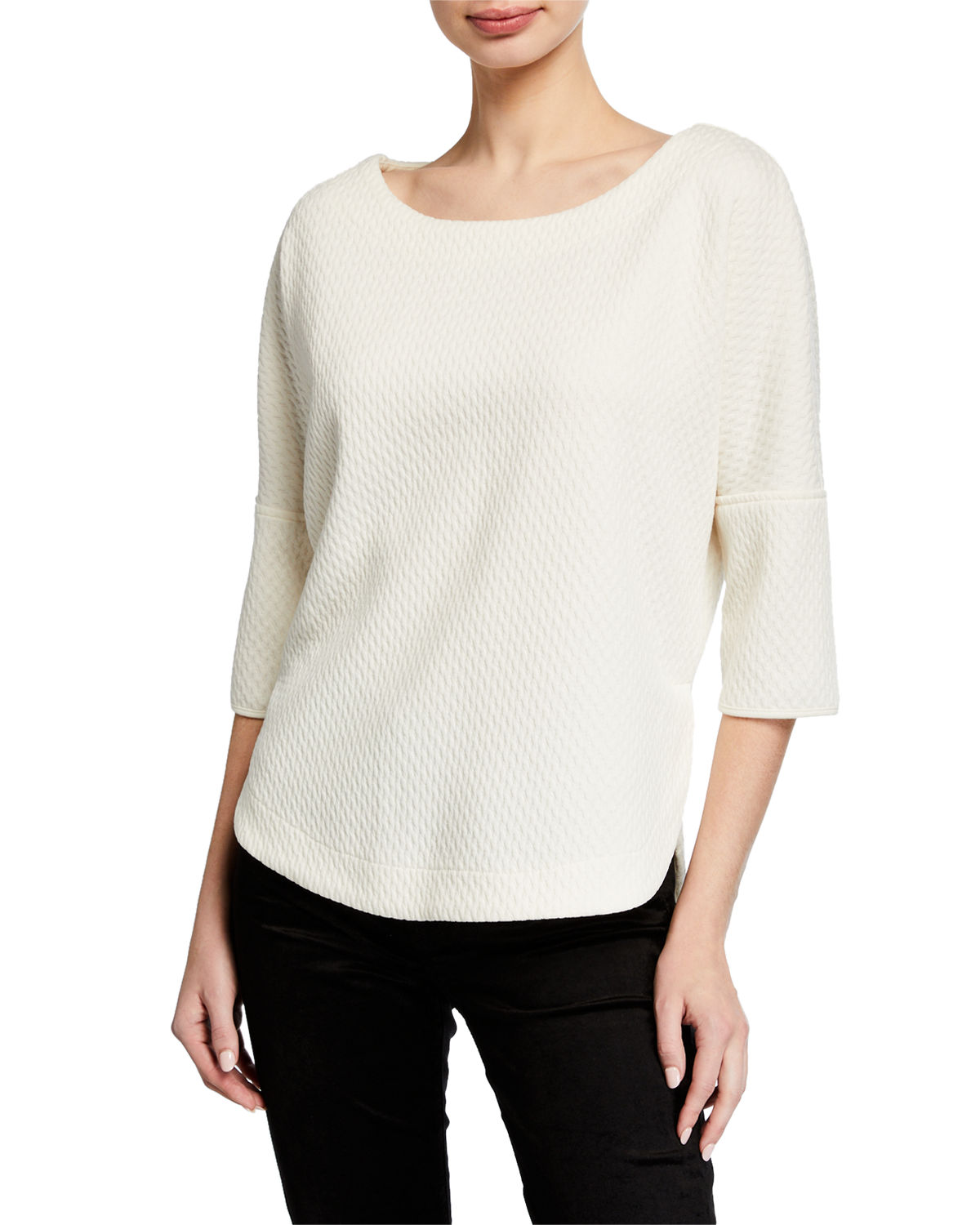 Max Studio TEXTURED KNIT 3/4-SLEEVE TOP
