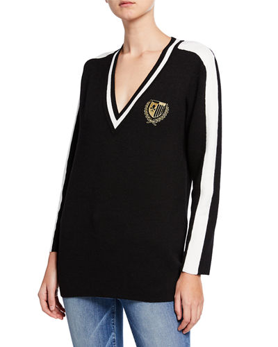 Embroidered Varsity Striped Sweater