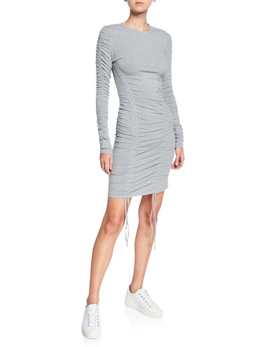Ruched Long-Sleeve Body-Con Dress