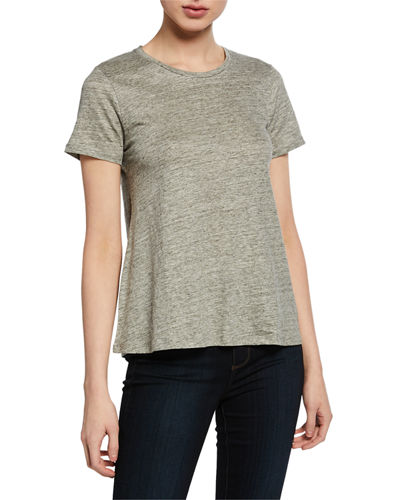 Crewneck Short-Sleeve Relaxed Stretch-Linen Tee