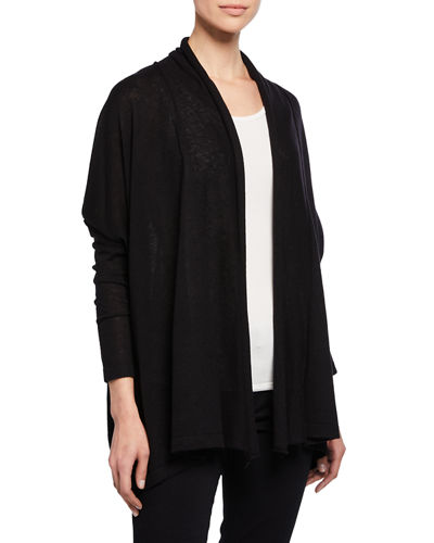 Draped Open-Front Cashmere Cardigan