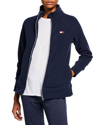 MODERN AMERICAN DESIGNER Stand-Collar Polar Fleece Jacket in Navy