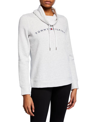 MODERN AMERICAN DESIGNER French Terry Cowl-Neck Logo Sweatshirt in Gray