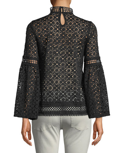 Mocke-Neck Bell-Sleeve Crochet Blouse