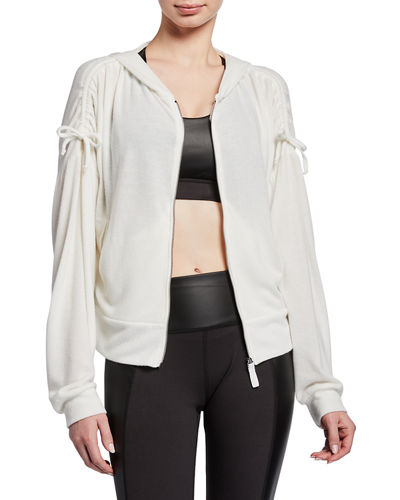 Shirred Sleeve Zip-Up Jacket