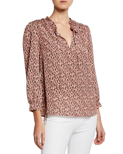 Evangeline Long-Sleeve Boxy-Fit Blouse
