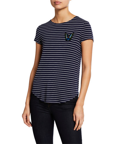 Beaded Patch Striped Tee