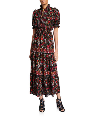 Floral Print Smocked Maxi Dress